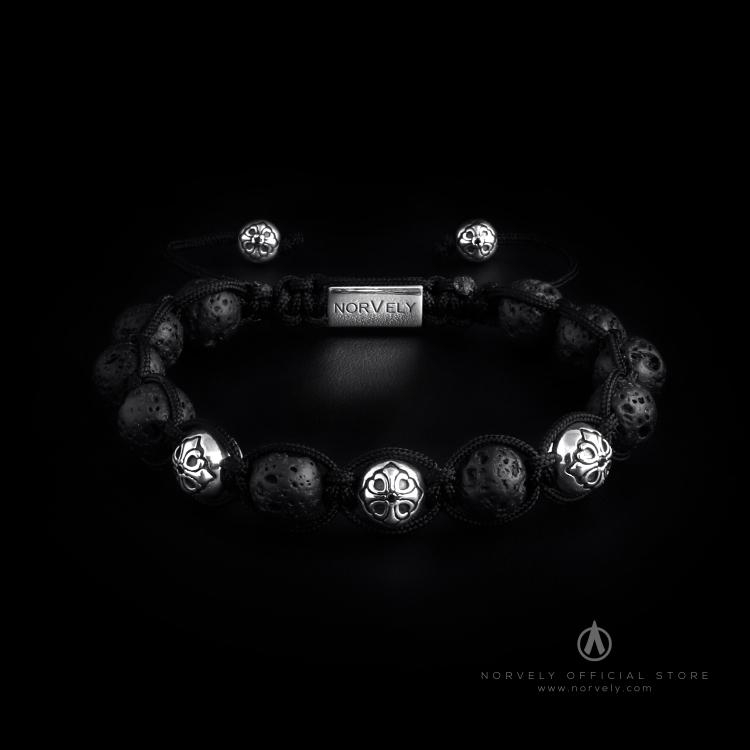 Sterling Silver Lily Balls & Lava Stone 10mm Link Bracelet