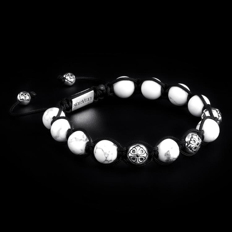 Sterling Silver Lily Balls & Howlite 10mm Link Bracelet