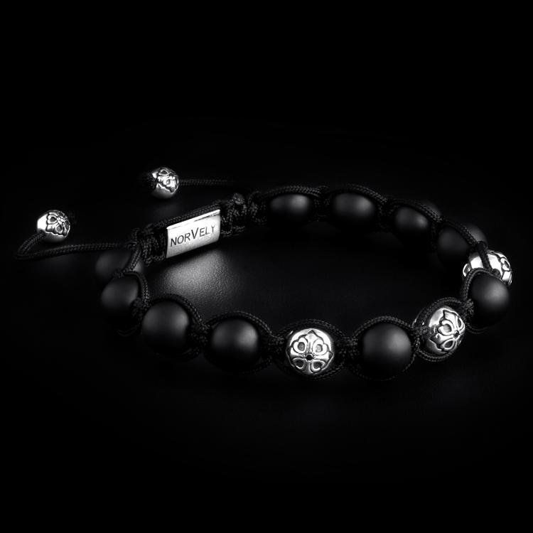 Sterling Silver Lily Balls & Matte Onyx 10mm Link Bracelet