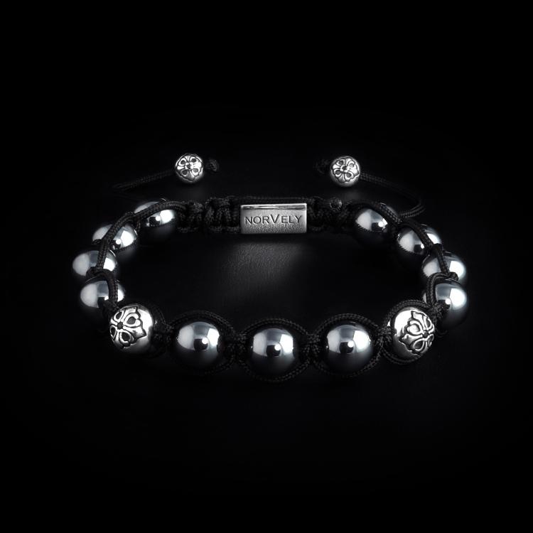 Sterling Silver Lily Balls & Hematite 10mm Link Bracelet