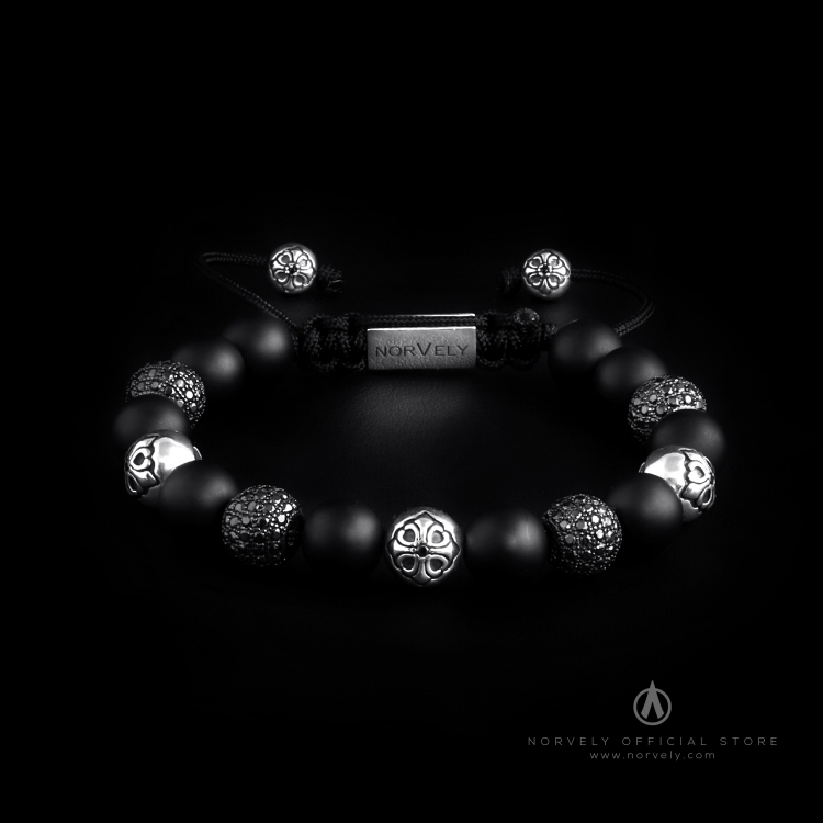Sterling Silver Lily & CZ Diamonds Balls - Matte Onyx 10mm Basic Bracelet