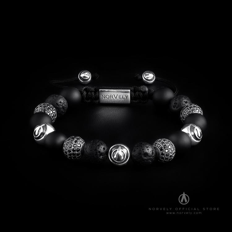 Sterling Silver Logo & CZ Diamonds Balls – Matte Onyx & Lava Stones 10mm Basic Bracelet
