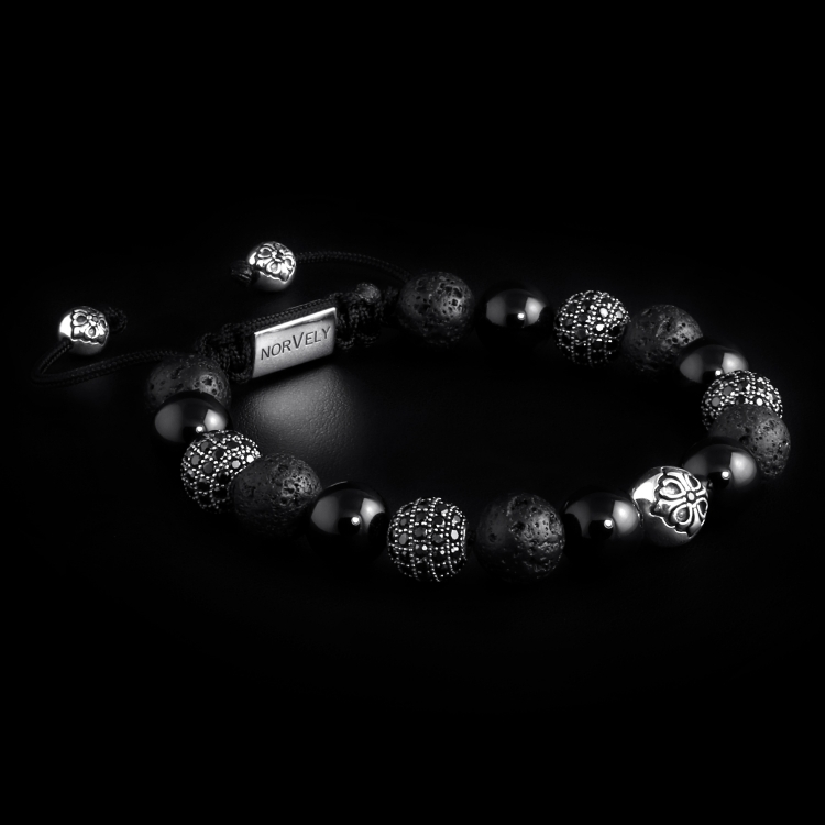 Sterling Silver Lily & CZ Diamonds Balls – Onyx & Lava Stone 10mm Basic Bracelet