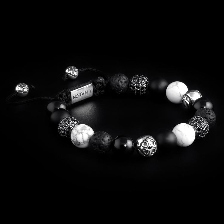 Sterling Silver Lily & CZ Diamonds Balls – Onyx, Howlite & Lava Stone 10mm Basic Bracelet