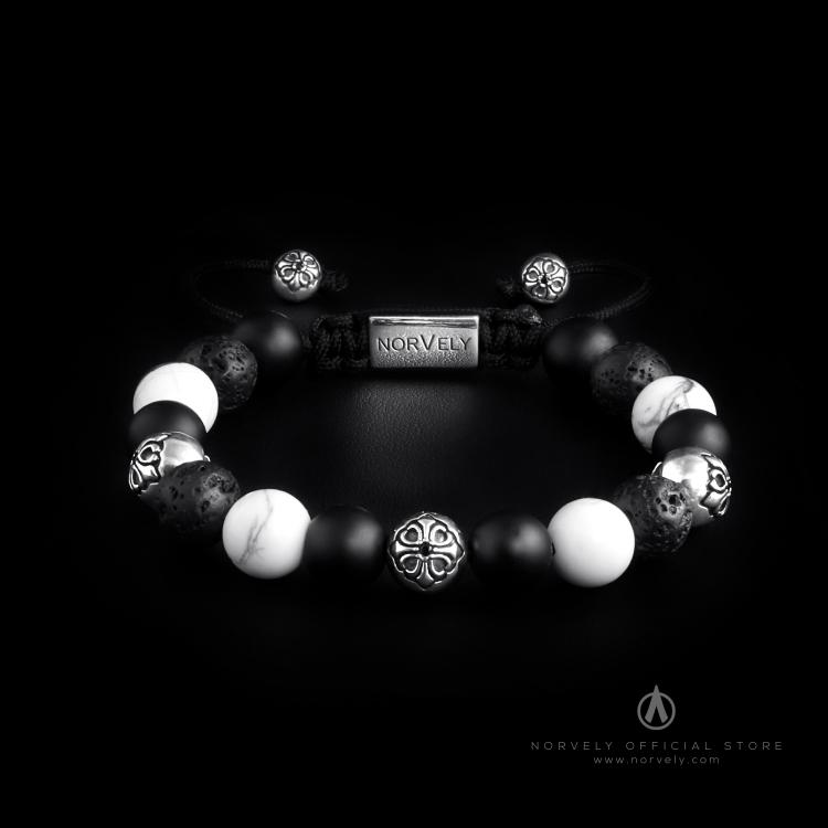 Sterling Silver Lily Balls – Onyx, Howlite & Lava Stone 10mm Basic Bracelet