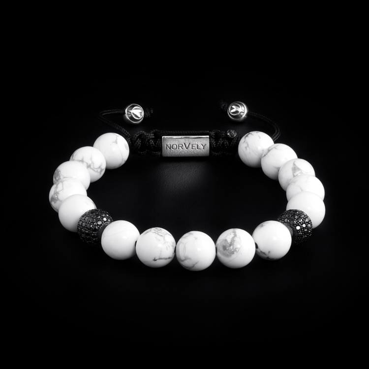 Sterling Silver Ruthenium Plated Beads With Black CZ Diamonds & Howlite Stones 10mm Basic Bracelet