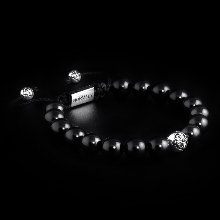 Sterling Silver Lily Ball & Onyx Stones 10mm Basic Bracelet