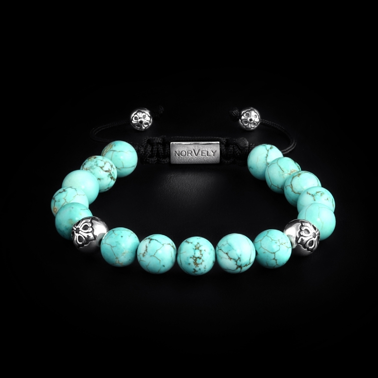 Sterling Silver Lily Balls & Bali Turquoise Stones 10mm Basic Bracelet