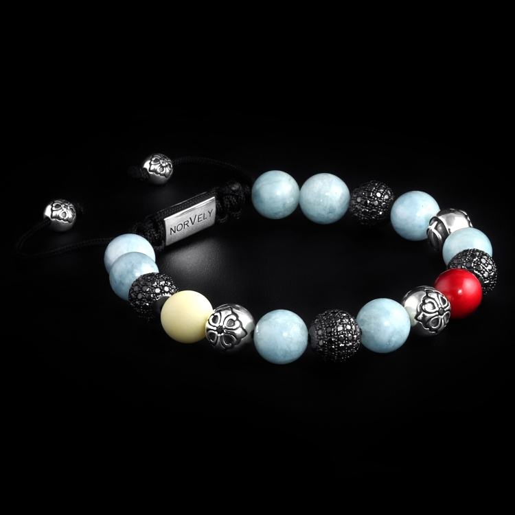 Sterling Silver Lily & CZ Diamonds Balls – Aquamarine, Coral & Sunstone 10mm Basic Bracelet