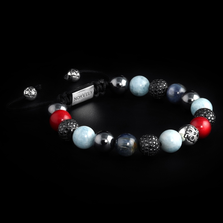 Silver Lily & CZ Diamonds / Mixed Stones – Coral, Aquamarine & Kyanite 10mm Basic Bracelet