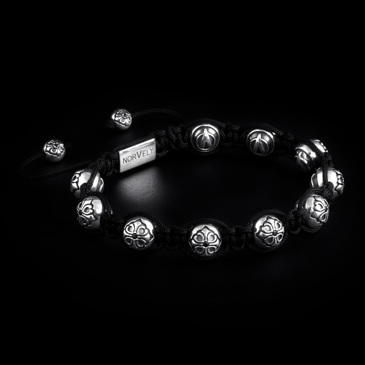 Sterling Silver Lily Balls With Black CZ Diamond 10mm Link Bracelet