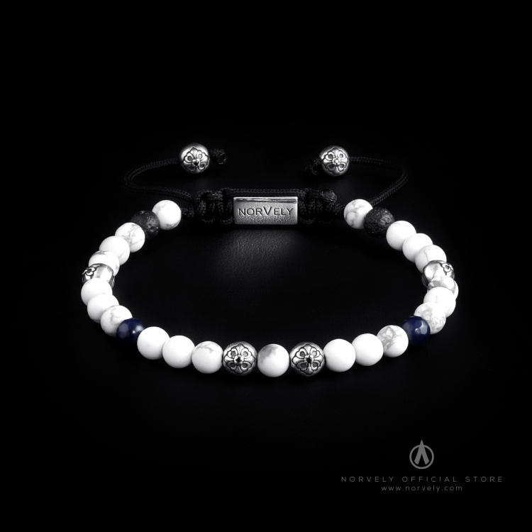 Sterling Silver Lily Balls – Howlite, Blue Agate & Lava Stones 6mm Basic Bracelet