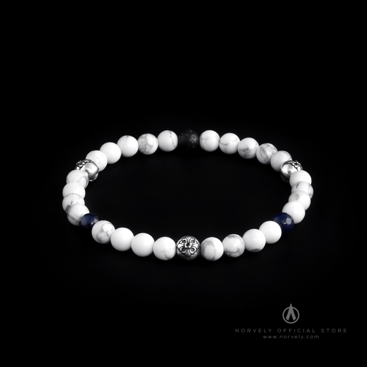 Sterling Silver Lily Balls – Howlite, Blue Agate & Lava Stones 6mm Elastic Bracelet