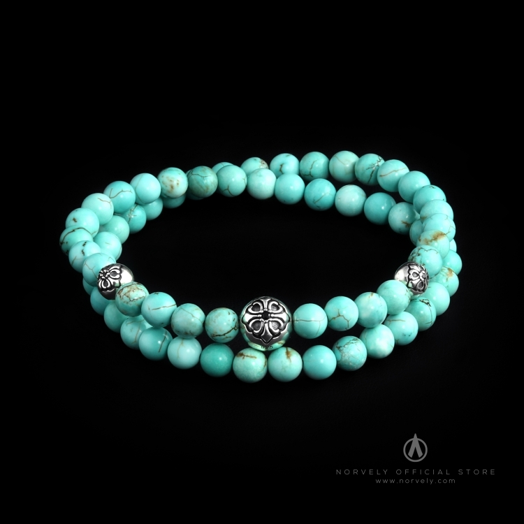 Sterling Silver Lily Balls & Bali Turquoise Stones 6mm Double Wrap Bracelet
