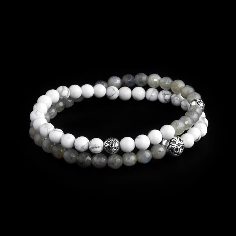 Sterling Silver Lily Balls - Labradorite & Howlite Stones 6mm Double Wrap Bracelet