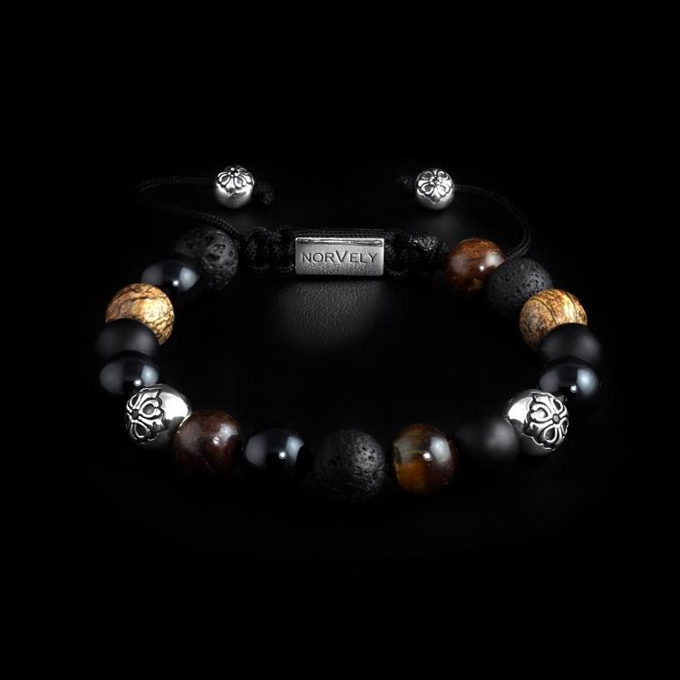 Silver Lily Balls / Mixed Stones – Jasper, Onyx, Bronzite & Tyger Eye 10mm Basic Bracelet