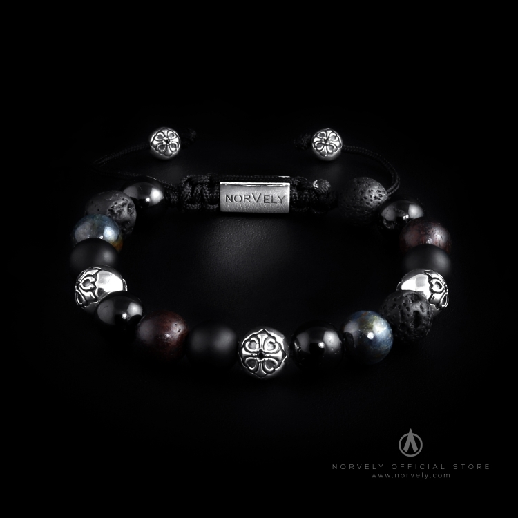 Silver Lily Balls / Mixed Stones – Tourmaline, Kyanite, Ebony & Onyx 10mm Basic Bracelet