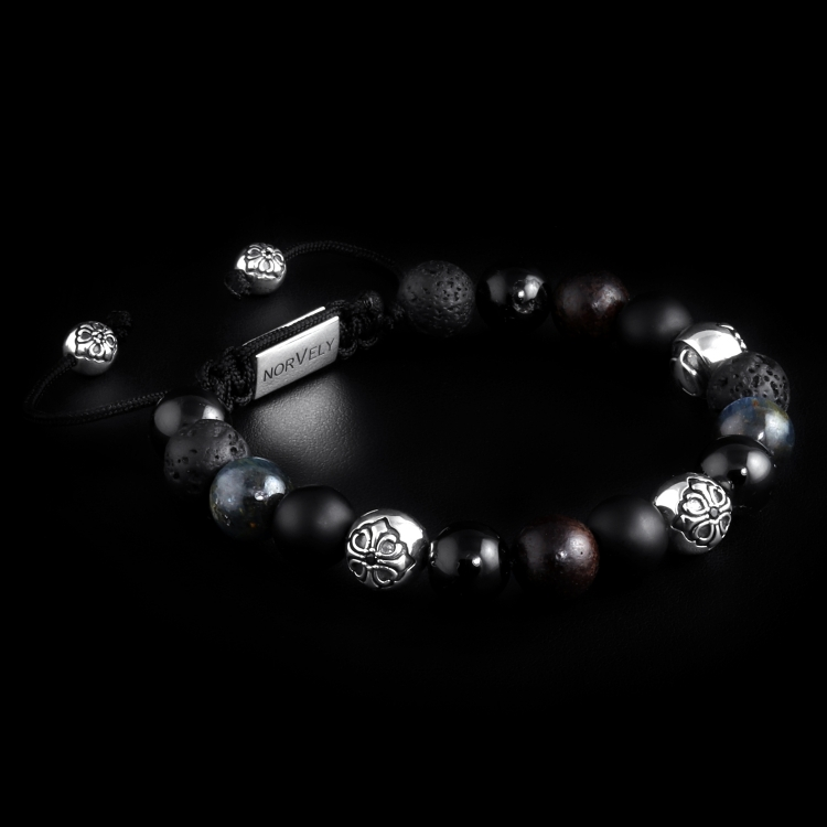 Silver Lily Balls / Mixed Stones – Tourmaline, Kyanite, Ebony & Onyx 10mm Basic Bracelet