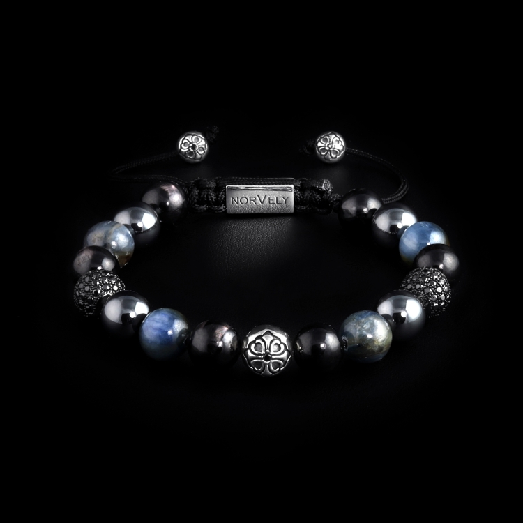 Silver Lily & CZ Diamonds / Mixed Stones – Hypersthene, Hematite & Kyanite 10mm Basic Bracelet