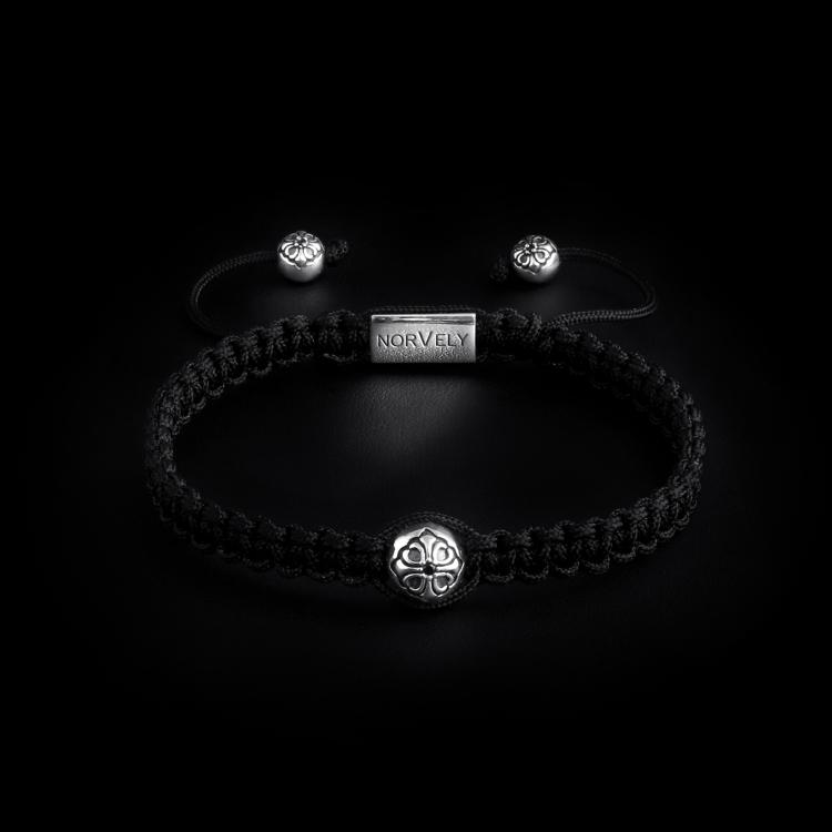 925 Sterling Silver Lily Ball & Black Cord 10mm Macrame Bracelet
