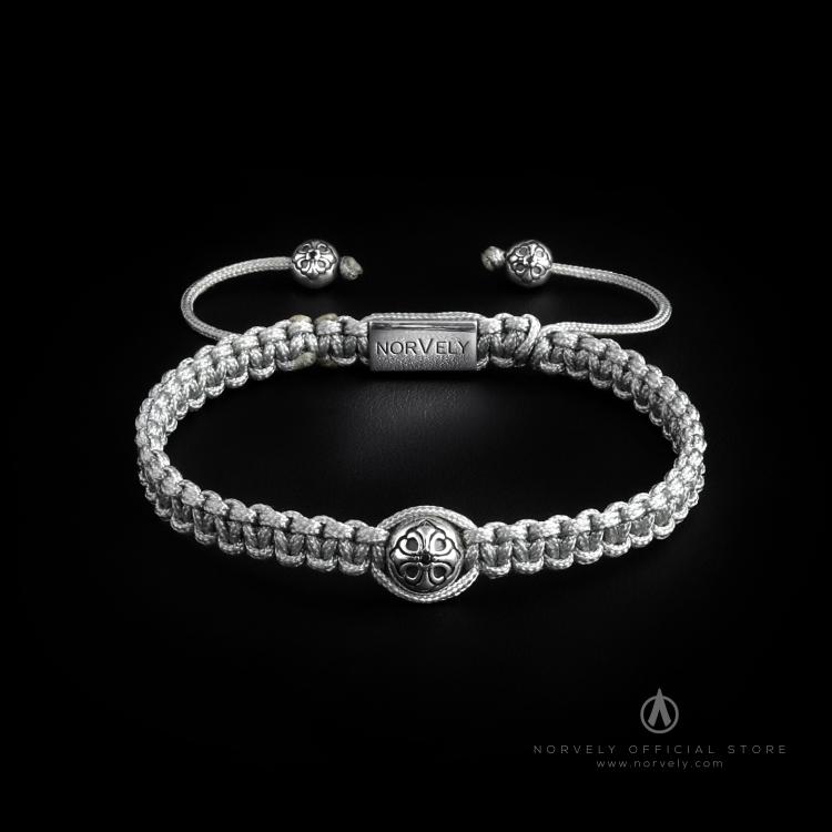 925 Sterling Silver Lily Ball & Silver Cord 10mm Macrame Bracelet
