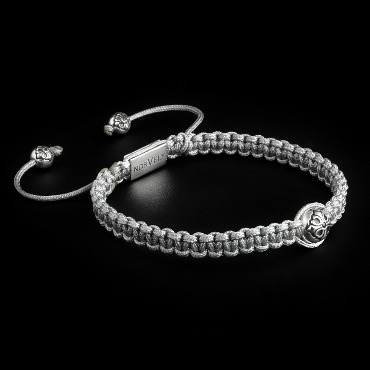 925 Sterling Silver Lily Ball & Silver Cord 10mm Macrame Bracelet