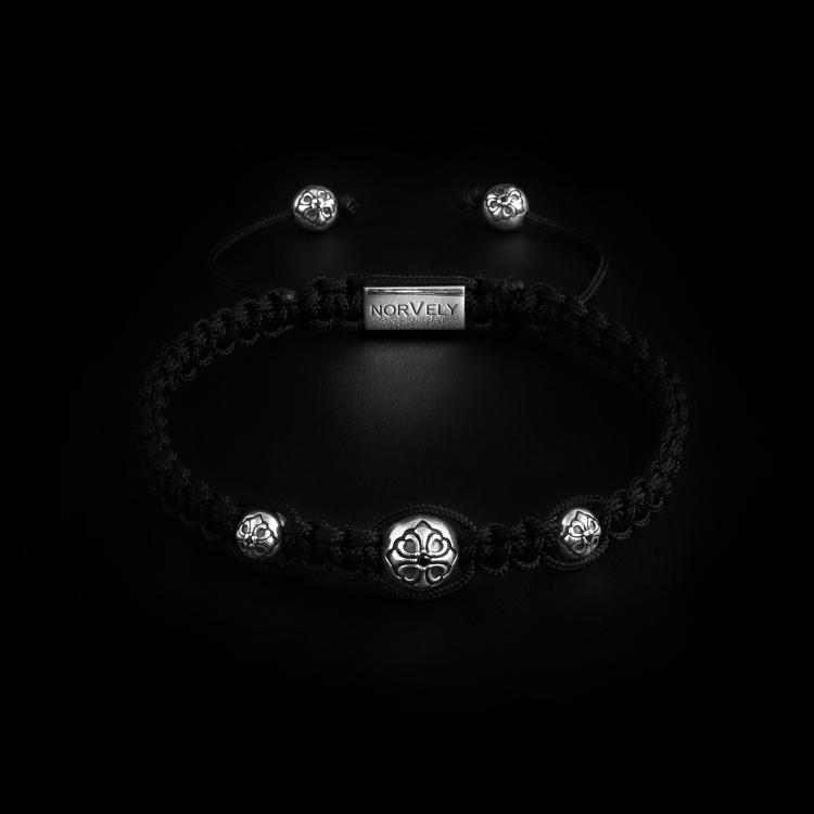 925 Sterling Silver Triple Lily Balls & Black Cord 10mm Macrame Bracelet