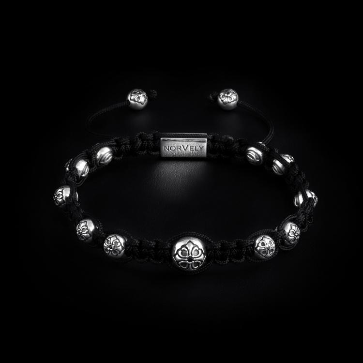 925 Sterling Silver Lily Balls & Black Cord 7mm Macrame Bracelet