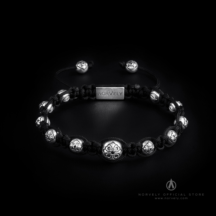 925 Sterling Silver Lily Balls 10&7mm Black Cord Macrame Bracelet