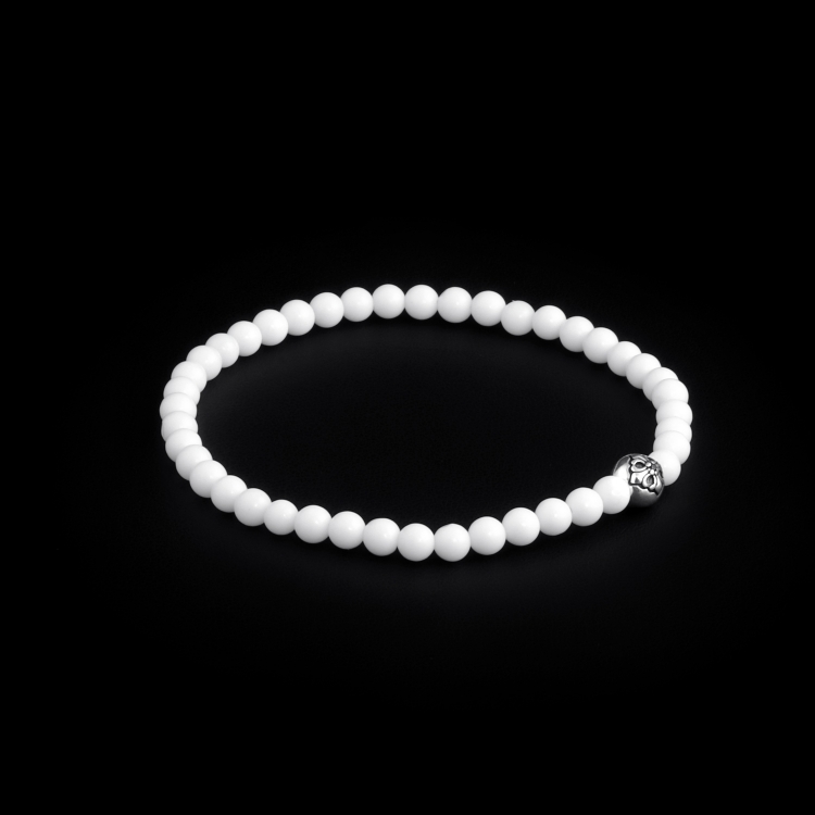925 Sterling Silver Lily Ball & White Shell - Tridacna 4mm Elastic Bracelet