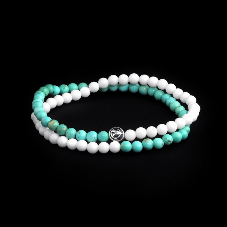 Sterling Silver Logo Ball - Shell & Turquoise Stones 4mm Double Wrap Bracelet