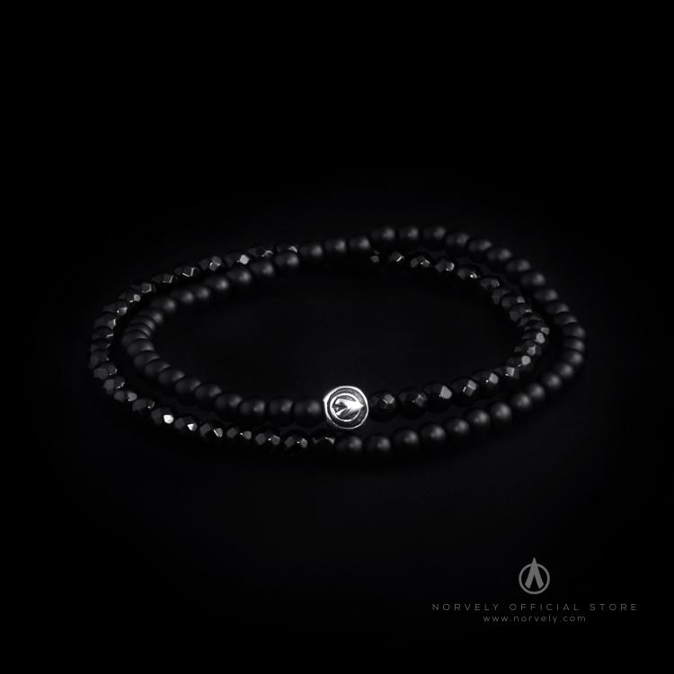 925 Sterling Silver Logo Ball & Onyx Stones 4mm Double Wrap Bracelet
