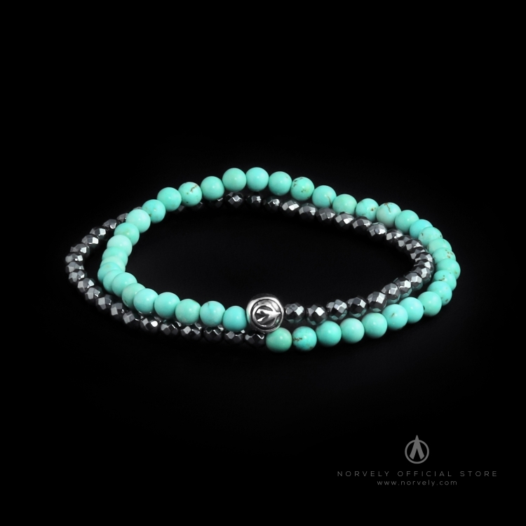 Sterling Silver Logo Ball - Hematite & Turquoise Stones 4mm Double Wrap Bracelet