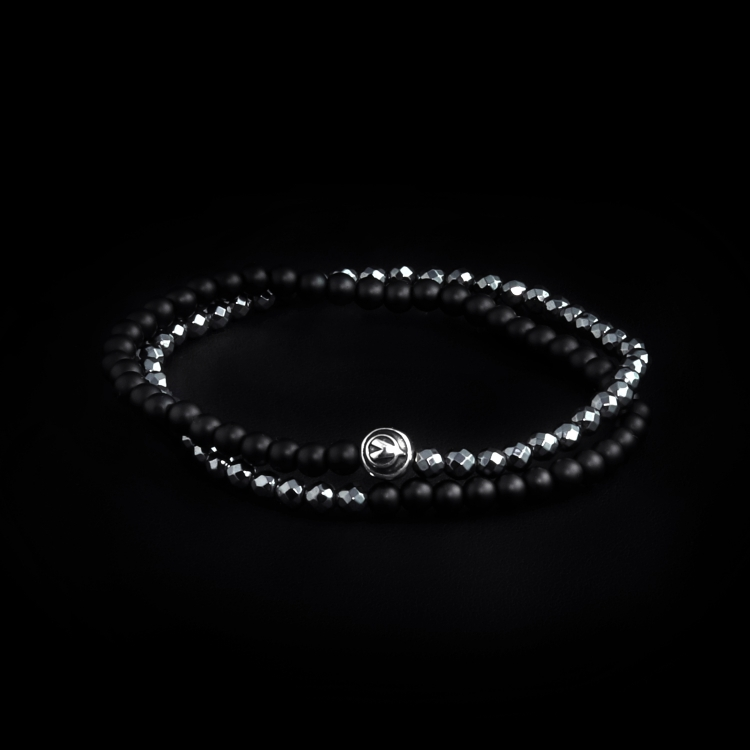 Sterling Silver Logo Ball - Hematite & Onyx Stones 4mm Double Wrap Bracelet